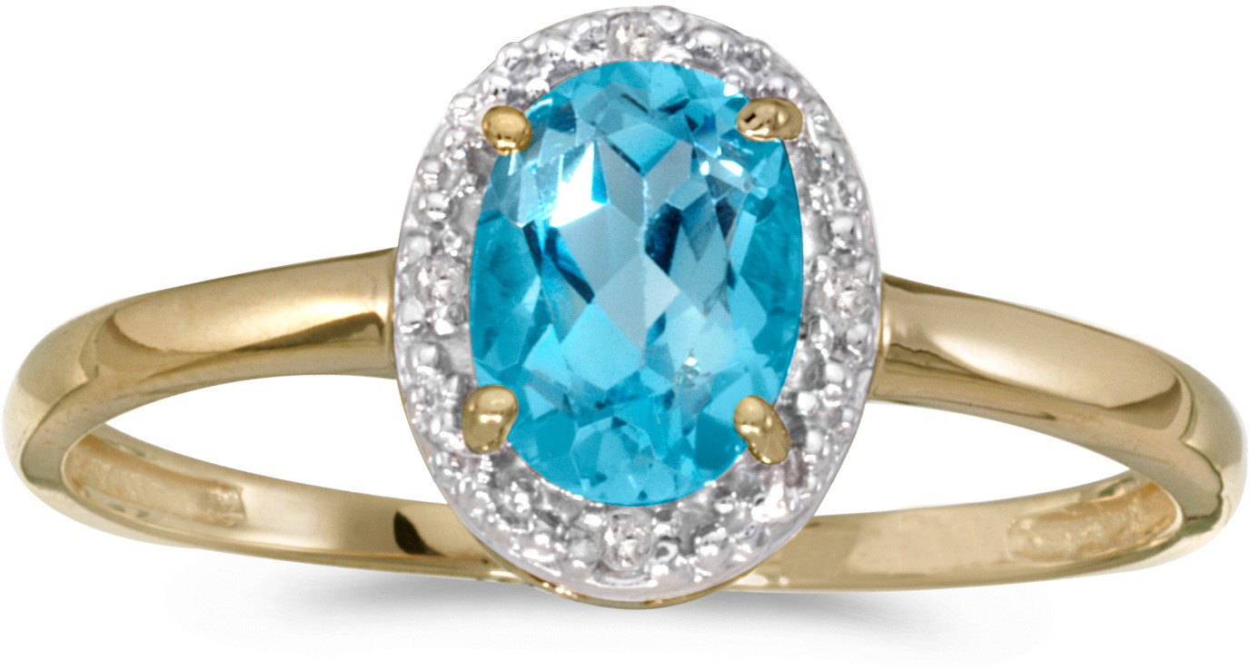 10k Yellow Gold Oval Blue Topaz And Diamond Ring (CM-RM2615-12)