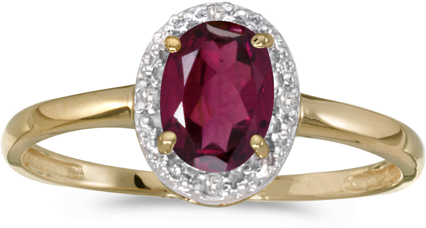 10k Yellow Gold Oval Rhodolite Garnet And Diamond Ring (CM-RM2615-RG)