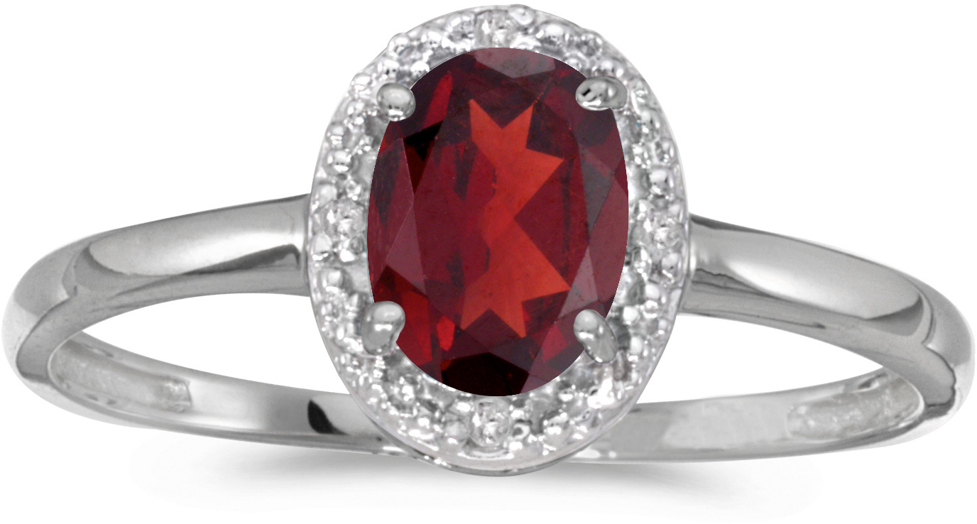10k White Gold Oval Garnet And Diamond Ring (CM-RM2615W-01)