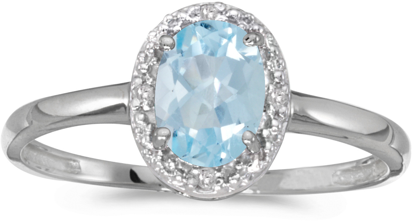 10k White Gold Oval Aquamarine And Diamond Ring (CM-RM2615W-03)