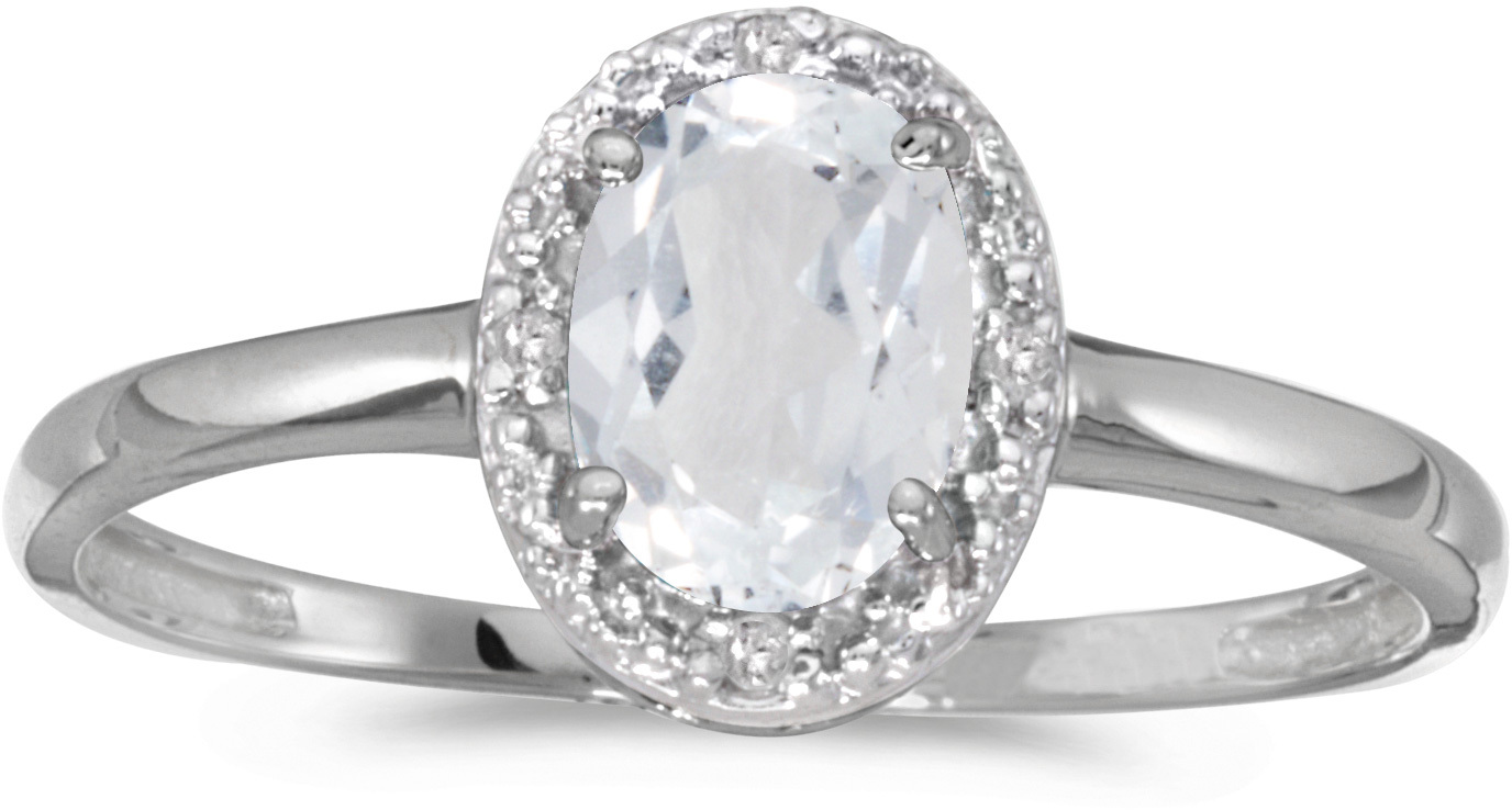 10k White Gold Oval White Topaz And Diamond Ring (CM-RM2615W-04)