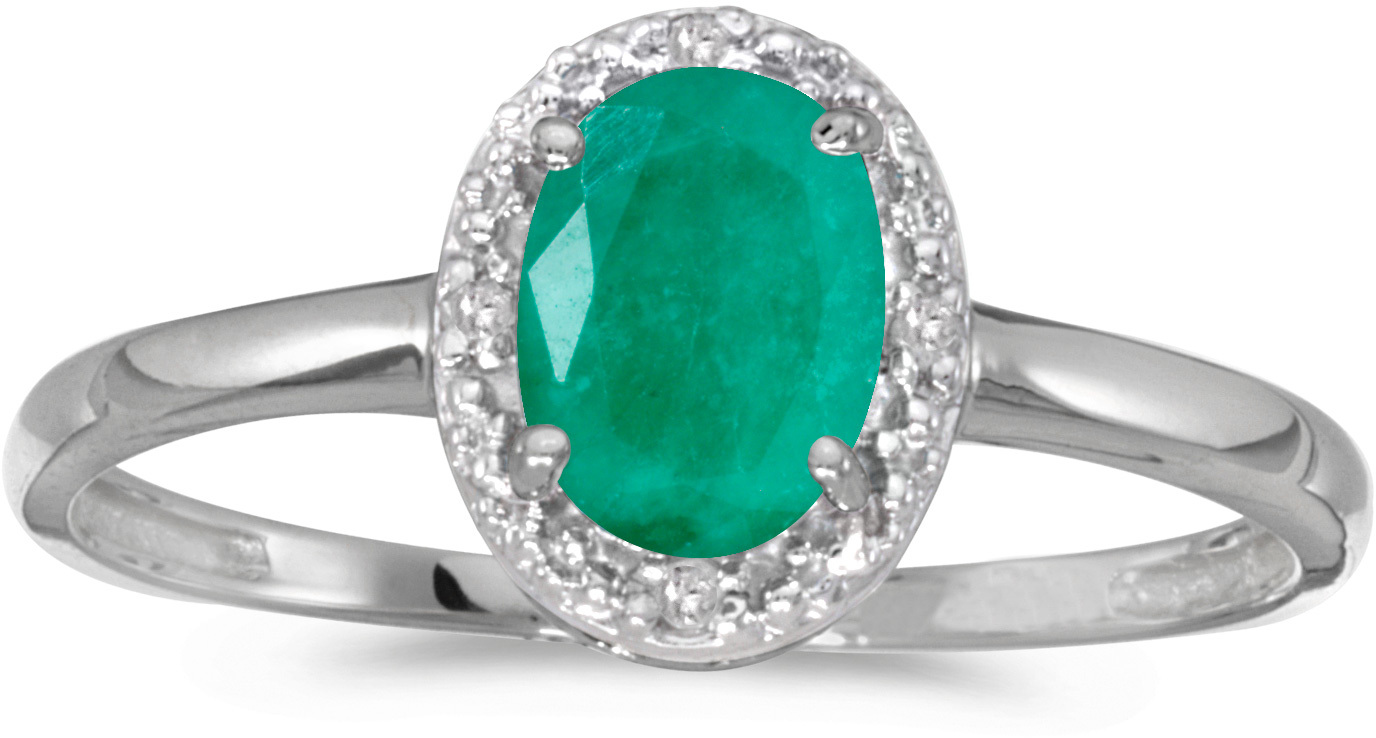 10k White Gold Oval Emerald And Diamond Ring (CM-RM2615W-05)