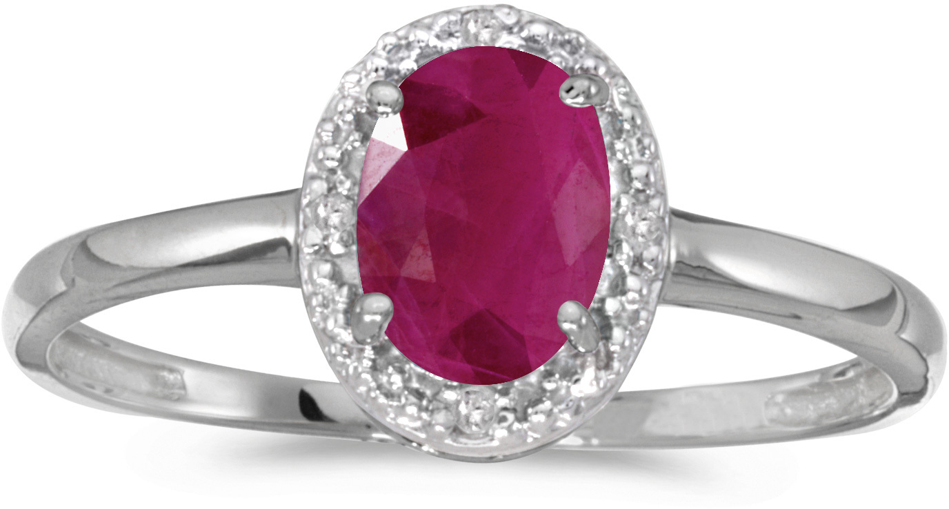 10k White Gold Oval Ruby And Diamond Ring (CM-RM2615W-07)