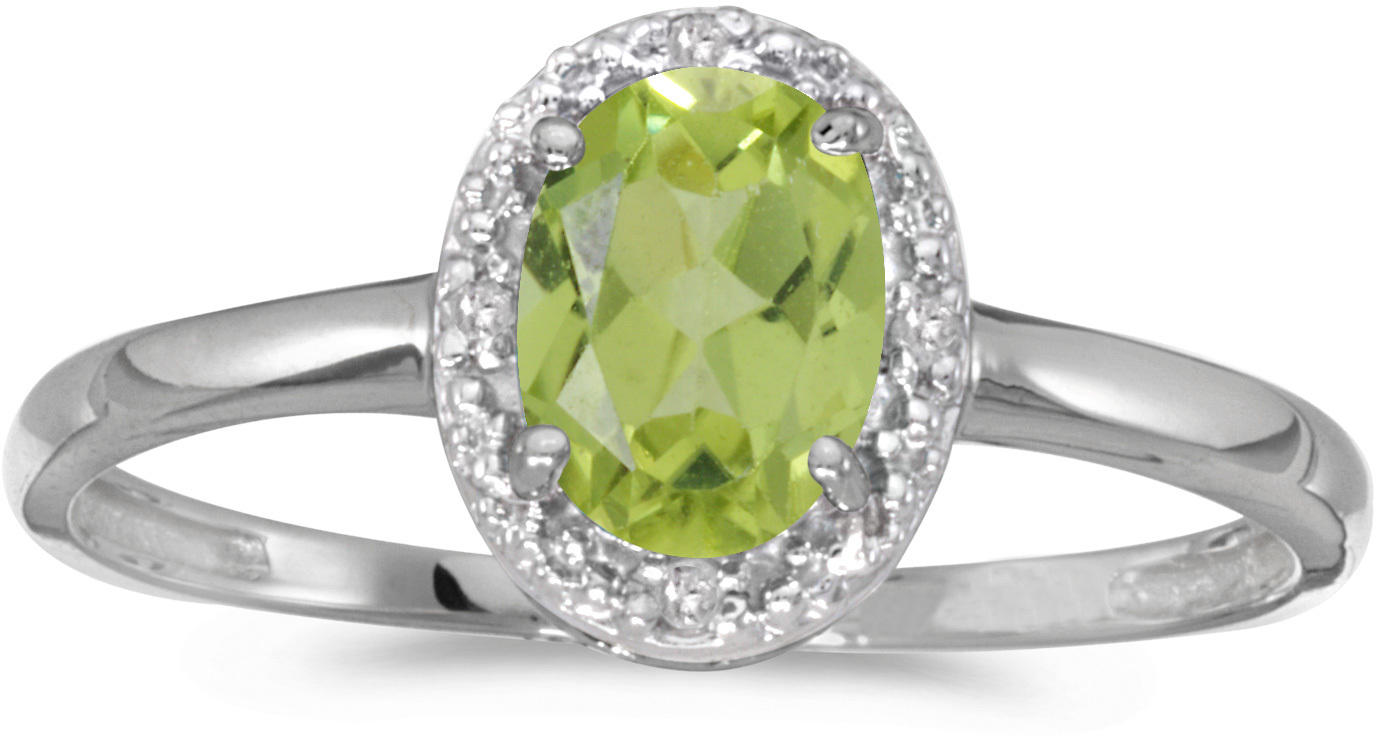 10k White Gold Oval Peridot And Diamond Ring (CM-RM2615W-08)