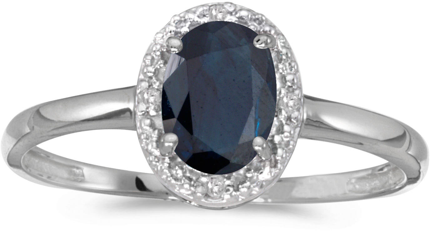 10k White Gold Oval Sapphire And Diamond Ring (CM-RM2615W-09)