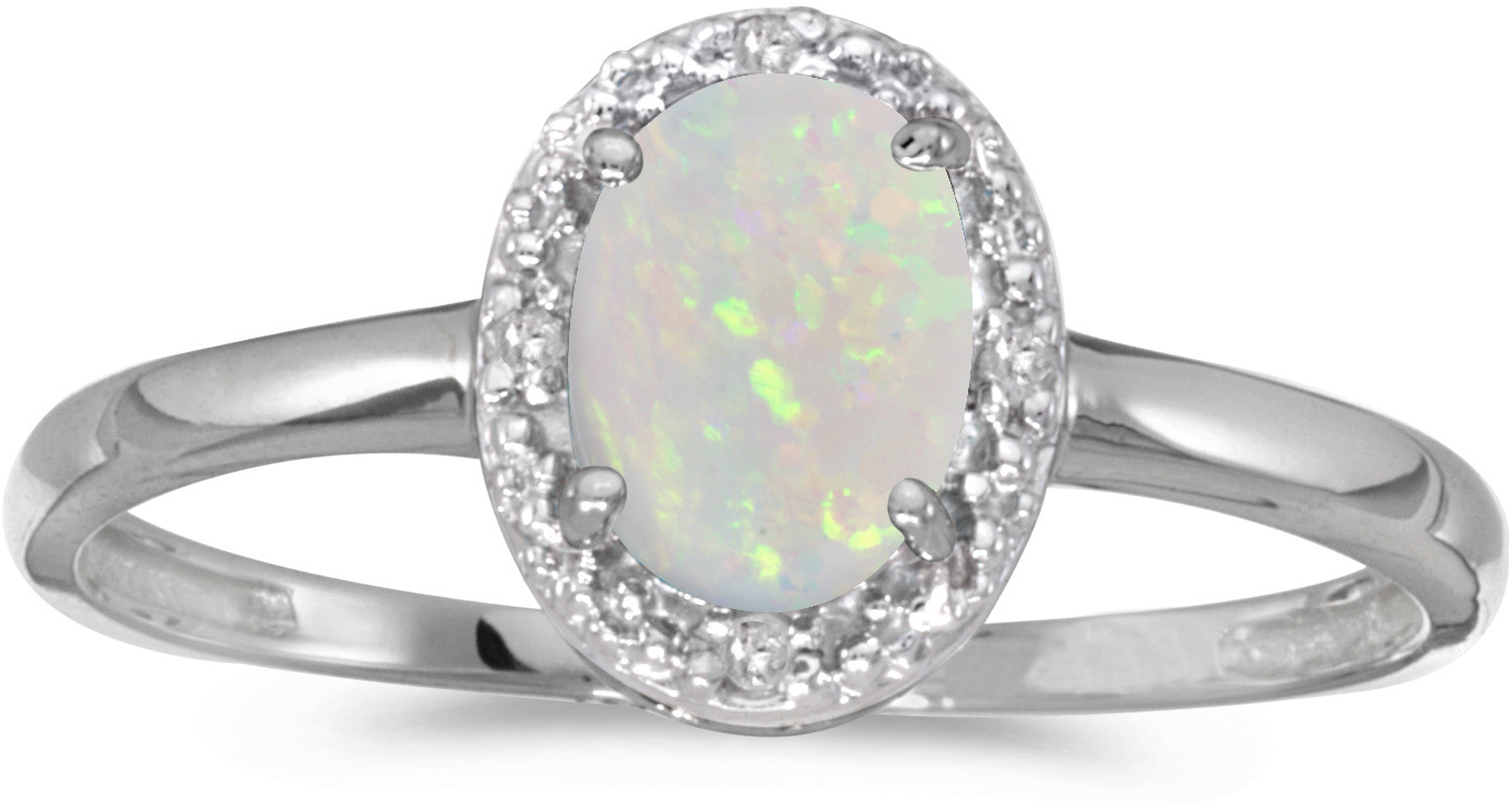 10k White Gold Oval Opal And Diamond Ring (CM-RM2615W-10)