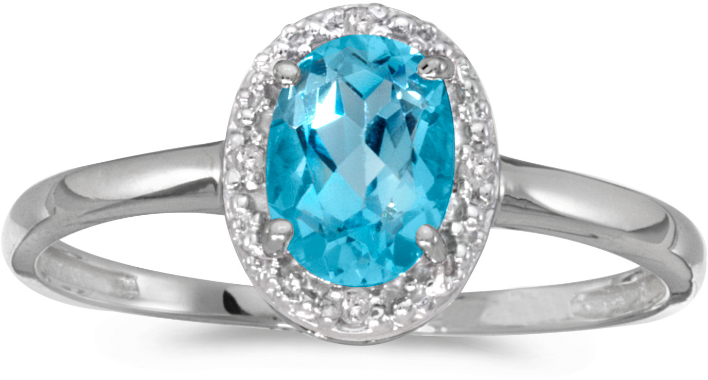 10k White Gold Oval Blue Topaz And Diamond Ring (CM-RM2615W-12)