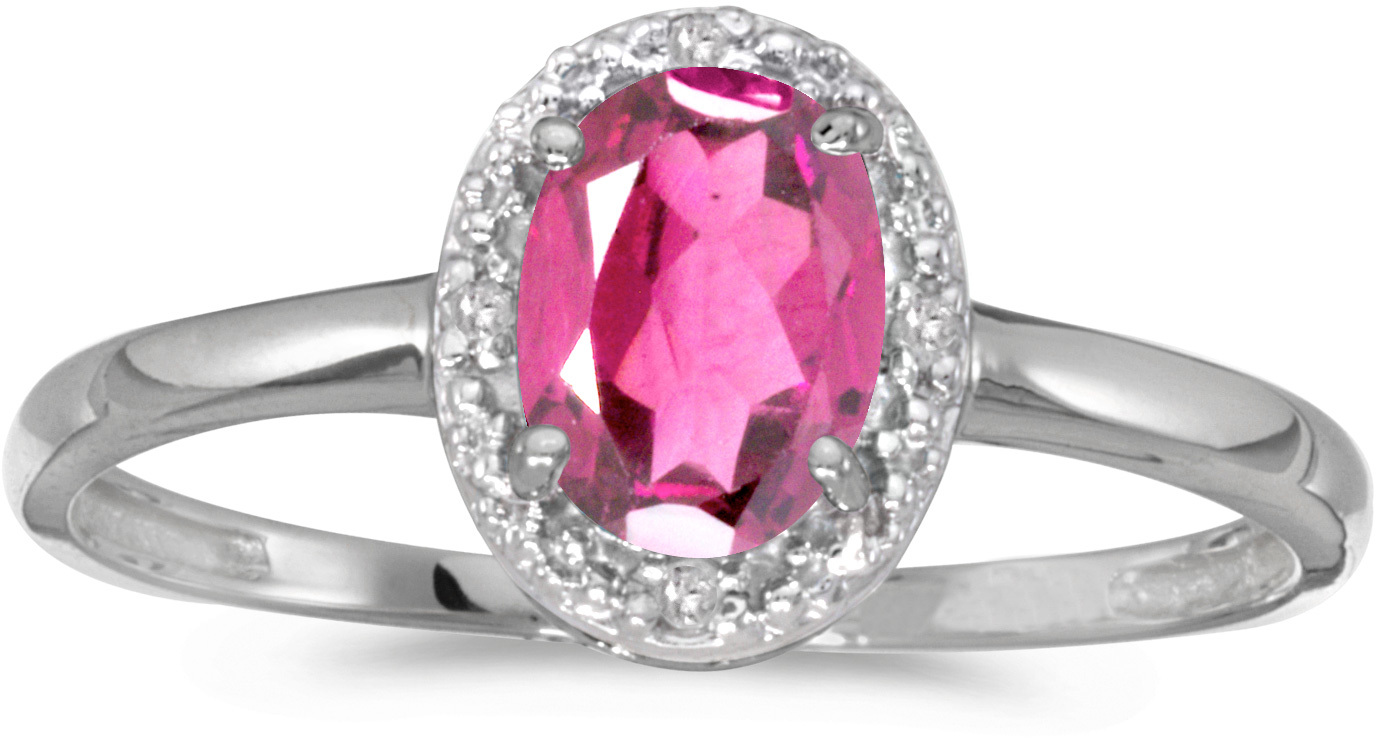 10k White Gold Oval Pink Topaz And Diamond Ring (CM-RM2615W-PT)