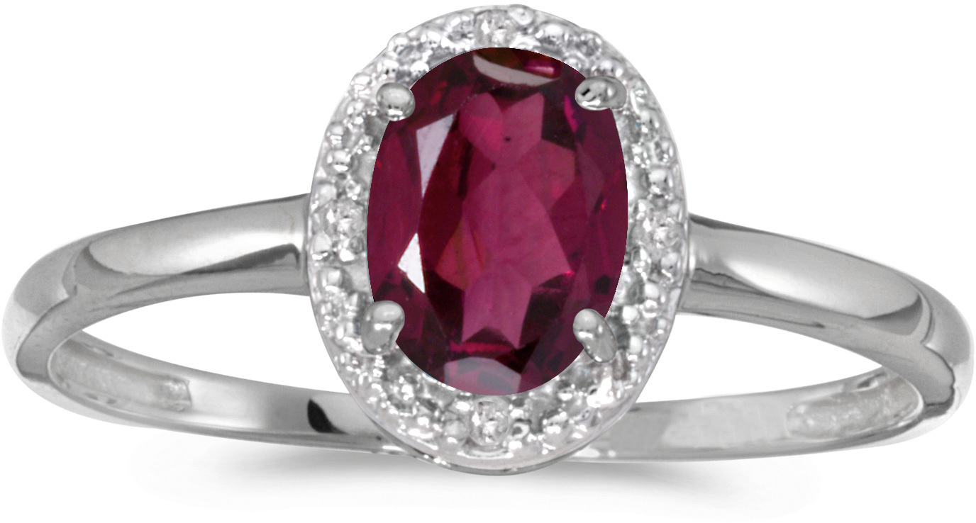 10k White Gold Oval Rhodolite Garnet And Diamond Ring (CM-RM2615W-RG)