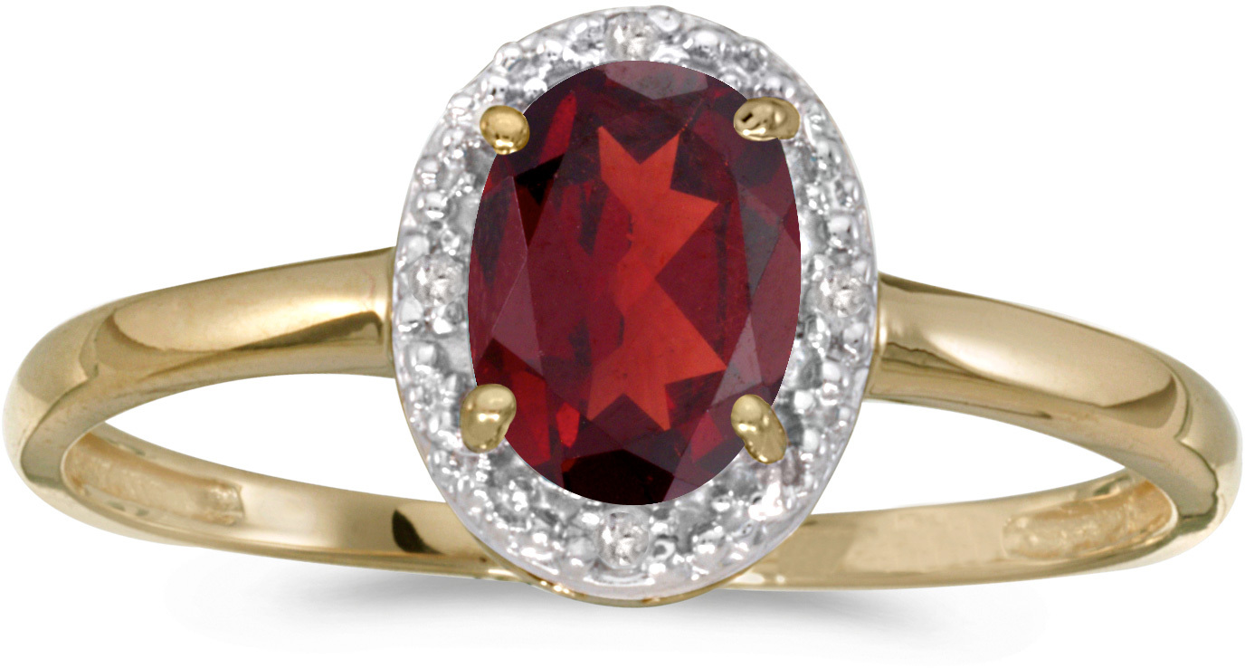 14k Yellow Gold Oval Garnet And Diamond Ring (CM-RM2615X-01)