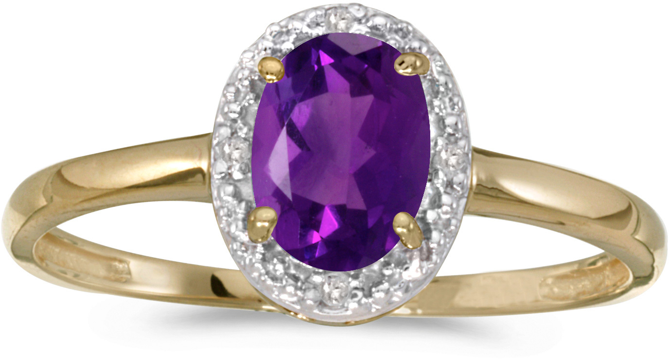 14k Yellow Gold Oval Amethyst And Diamond Ring (CM-RM2615X-02)