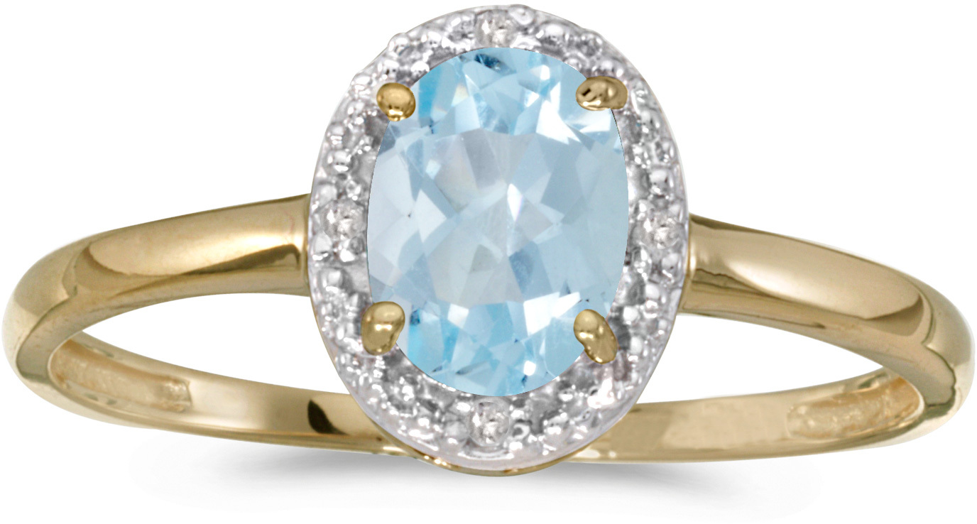 14k Yellow Gold Oval Aquamarine And Diamond Ring (CM-RM2615X-03)
