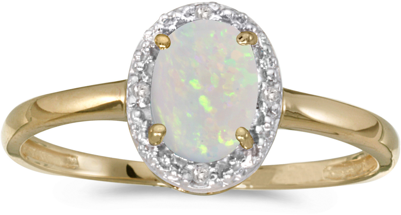 14k Yellow Gold Oval Opal And Diamond Ring (CM-RM2615X-10)