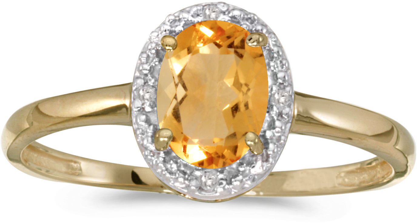 14k Yellow Gold Oval Citrine And Diamond Ring (CM-RM2615X-11)