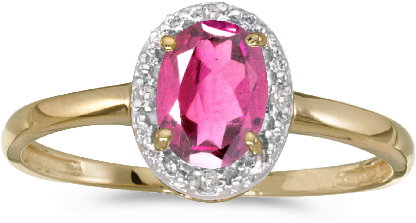 14k Yellow Gold Oval Pink Topaz And Diamond Ring (CM-RM2615X-PT)