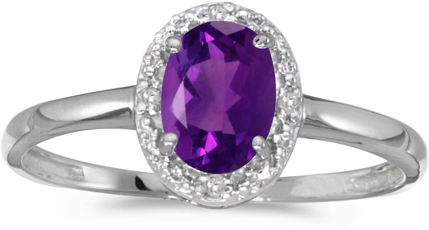 14k White Gold Oval Amethyst And Diamond Ring (CM-RM2615XW-02)