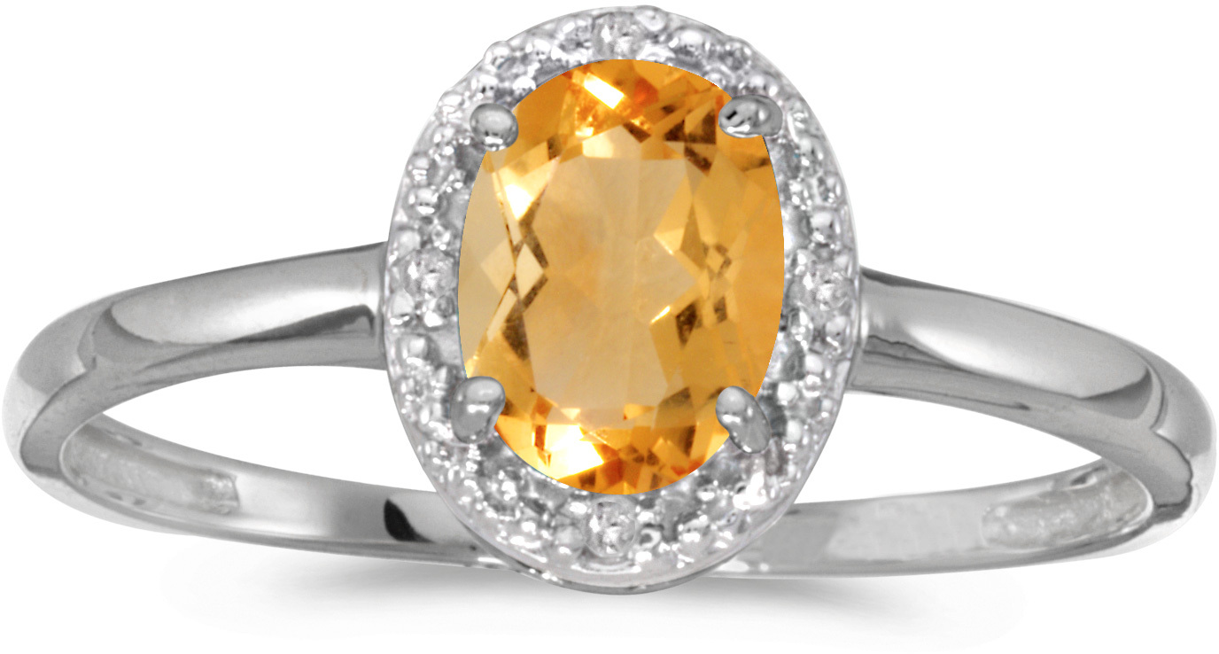 14k White Gold Oval Citrine And Diamond Ring (CM-RM2615XW-11)