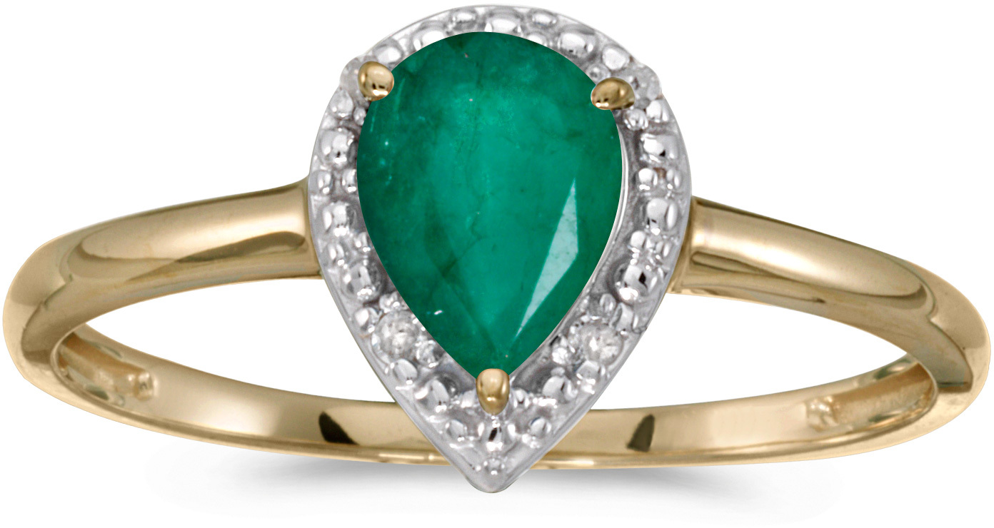 10k Yellow Gold Pear Emerald And Diamond Ring (CM-RM2616-05)