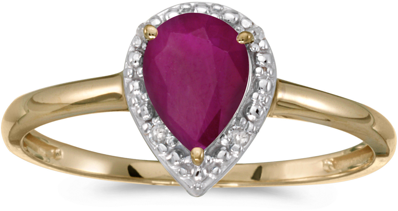 10k Yellow Gold Pear Ruby And Diamond Ring (CM-RM2616-07)