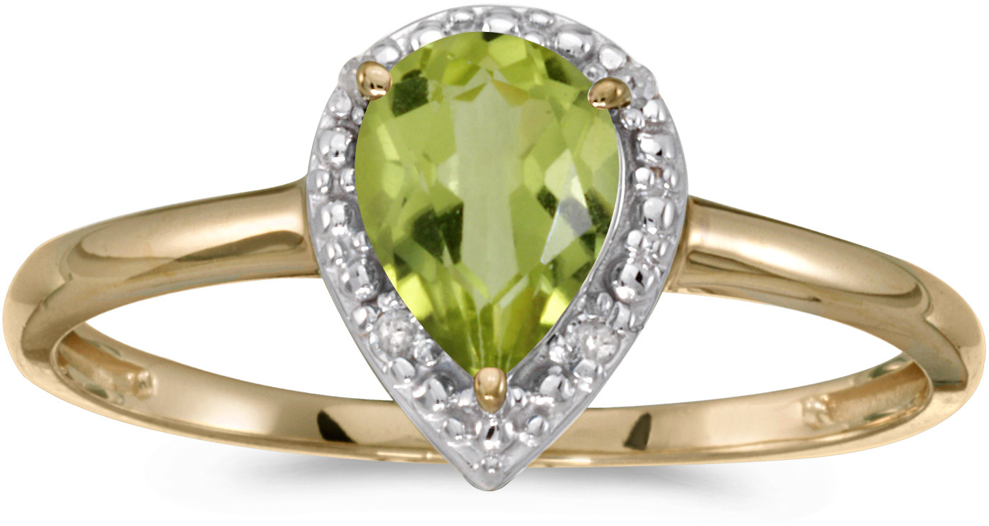 10k Yellow Gold Pear Peridot And Diamond Ring (CM-RM2616-08)