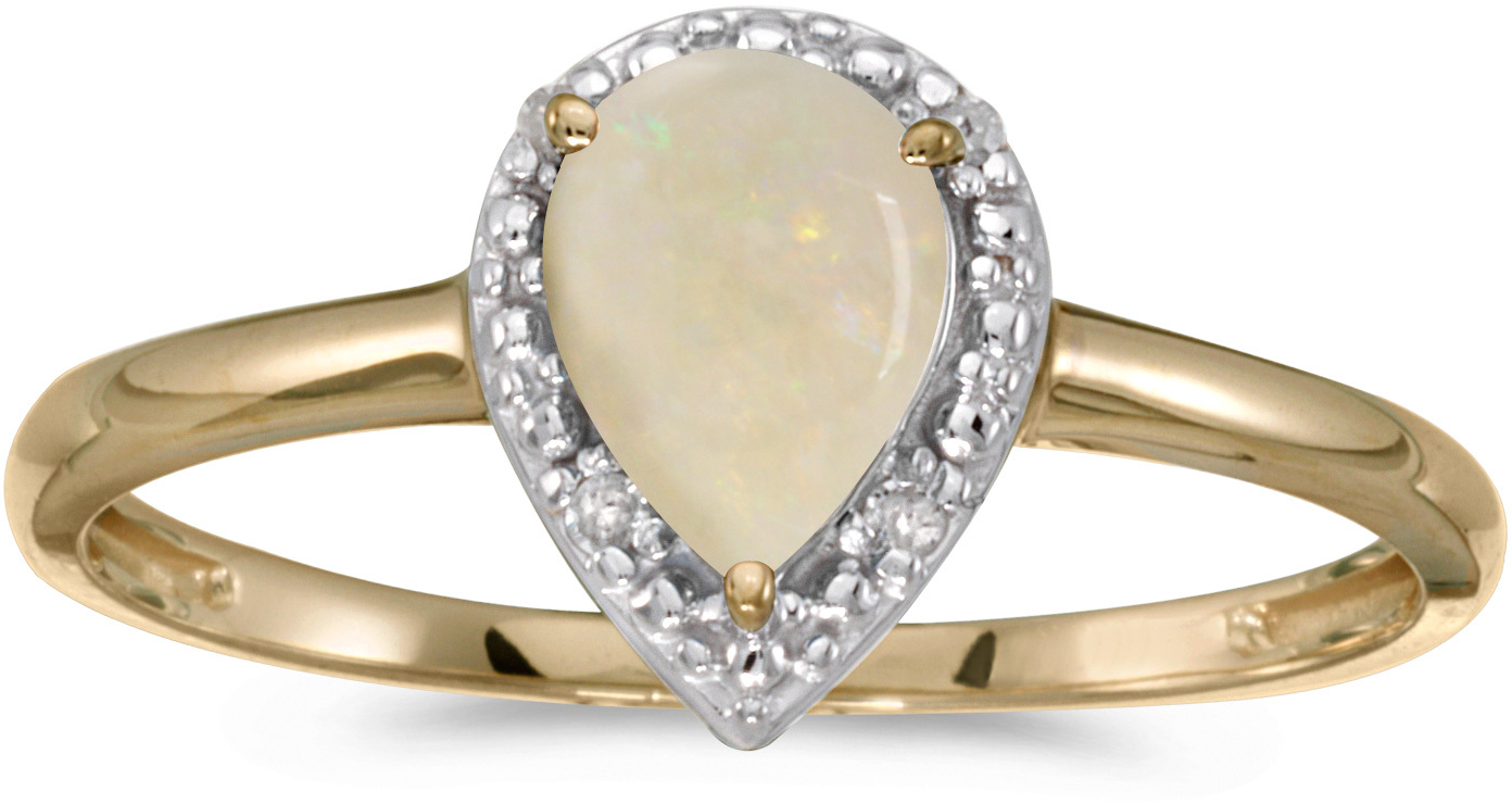 10k Yellow Gold Pear Opal And Diamond Ring (CM-RM2616-10)