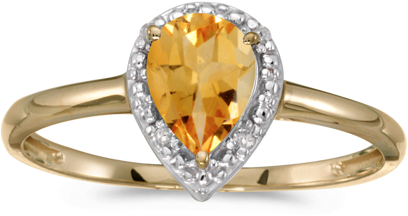 10k Yellow Gold Pear Citrine And Diamond Ring (CM-RM2616-11)
