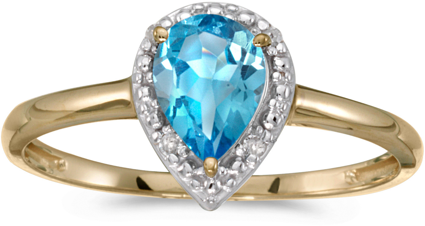 10k Yellow Gold Pear Blue Topaz And Diamond Ring (CM-RM2616-12)