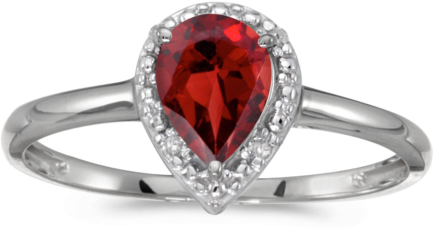 10k White Gold Pear Garnet And Diamond Ring (CM-RM2616W-01)