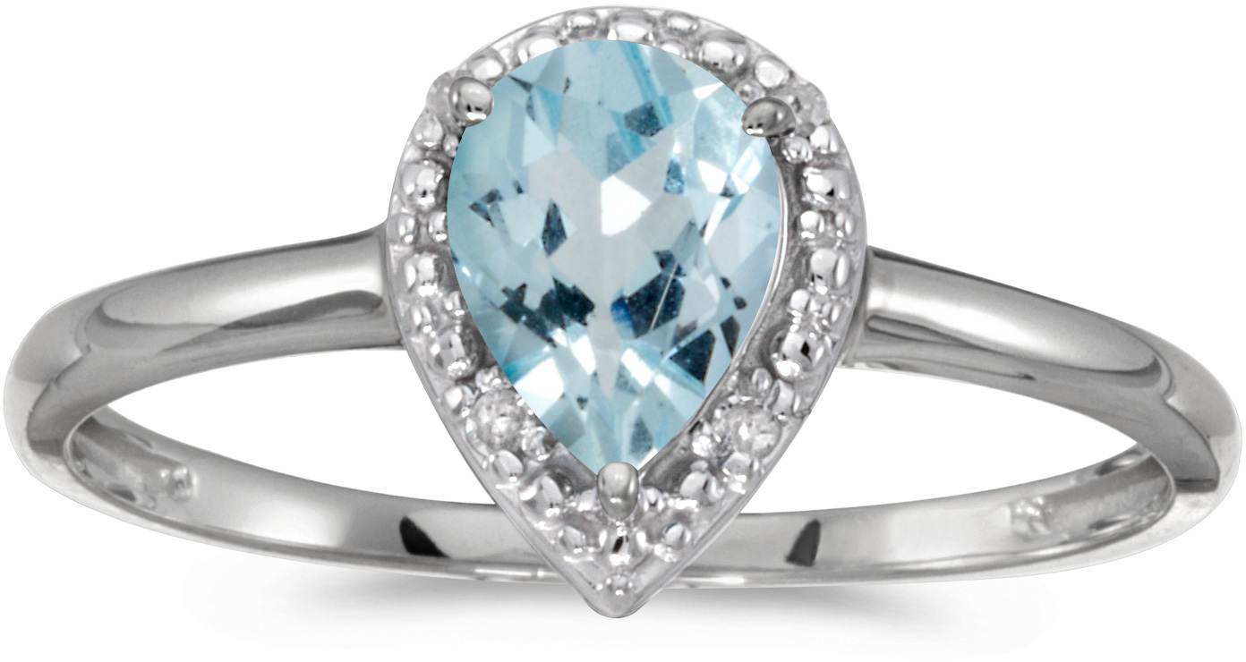 10k White Gold Pear Aquamarine And Diamond Ring (CM-RM2616W-03)