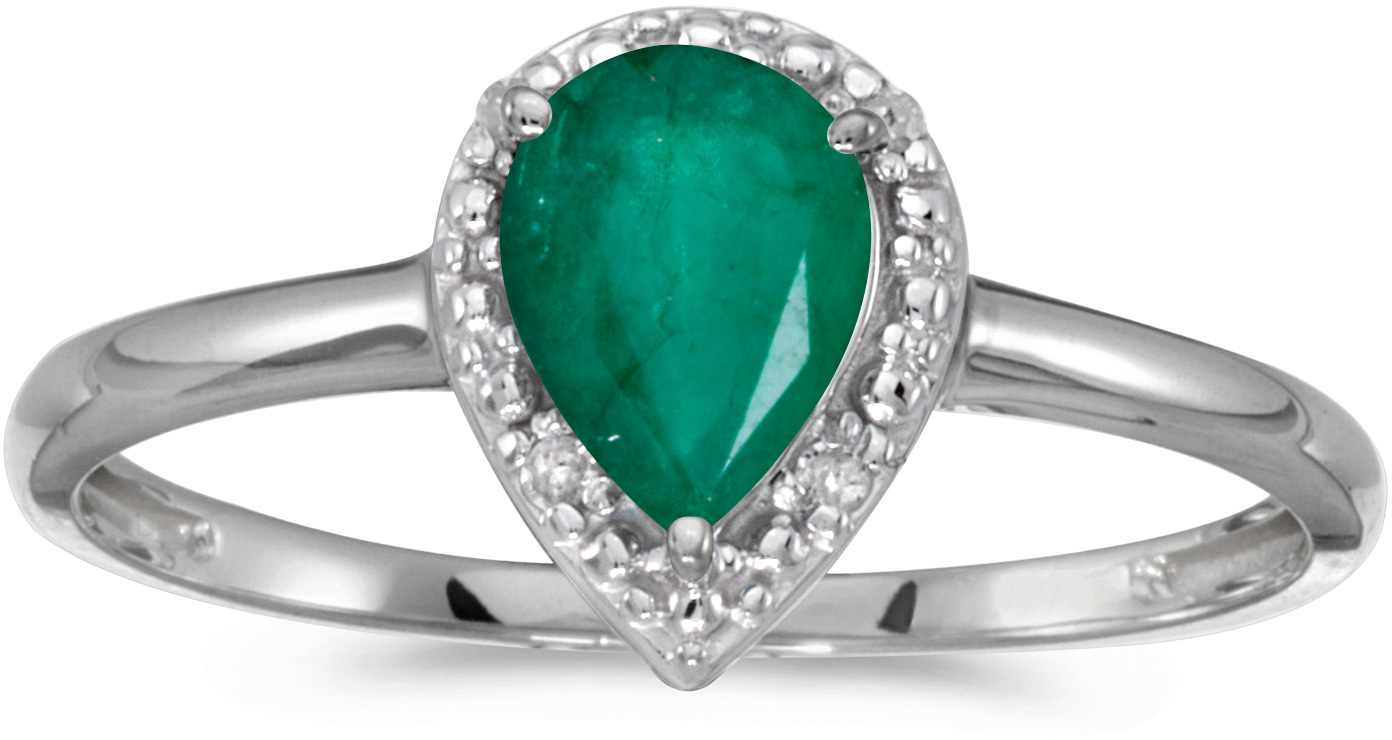 10k White Gold Pear Emerald And Diamond Ring (CM-RM2616W-05)