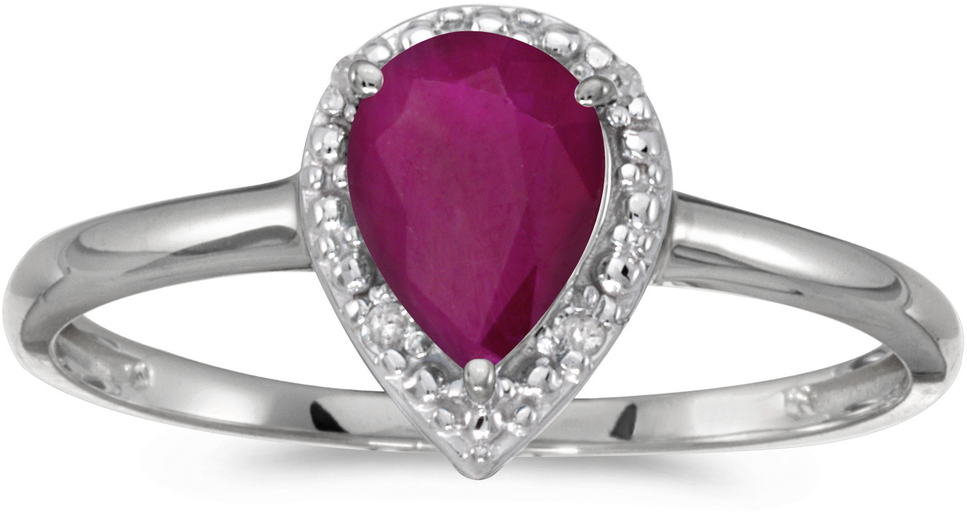 10k White Gold Pear Ruby And Diamond Ring (CM-RM2616W-07)