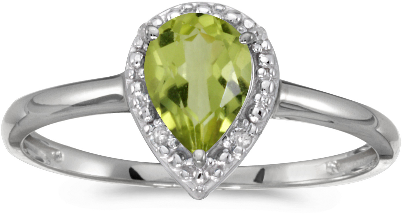 10k White Gold Pear Peridot And Diamond Ring (CM-RM2616W-08)