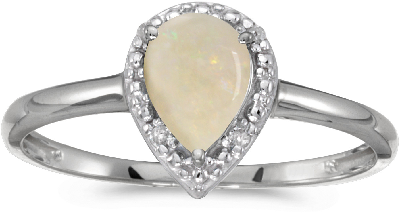 10k White Gold Pear Opal And Diamond Ring (CM-RM2616W-10)