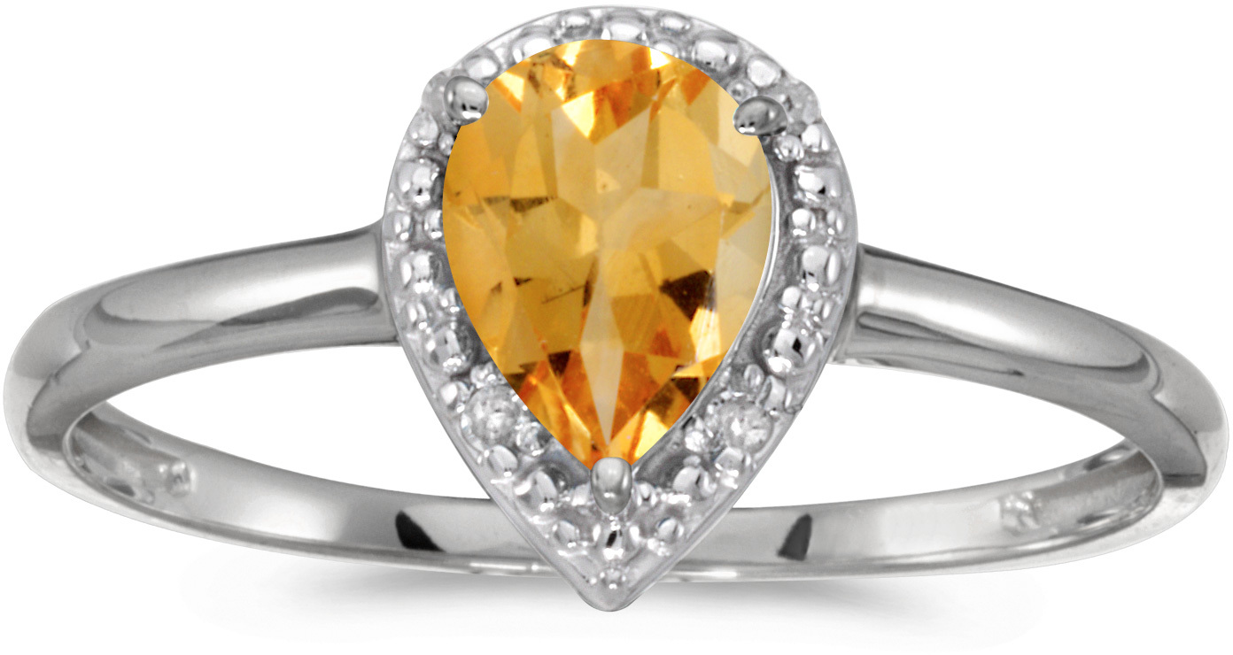 10k White Gold Pear Citrine And Diamond Ring (CM-RM2616W-11)
