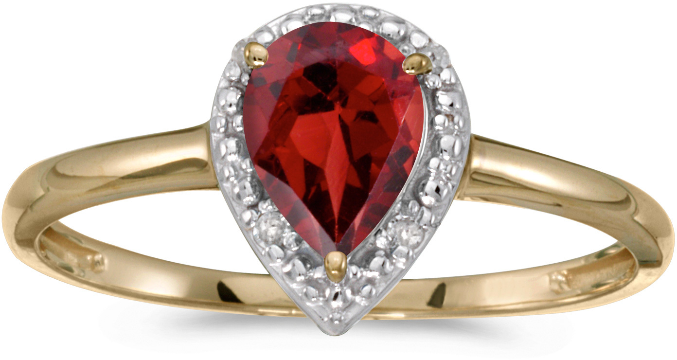 14k Yellow Gold Pear Garnet And Diamond Ring (CM-RM2616X-01)