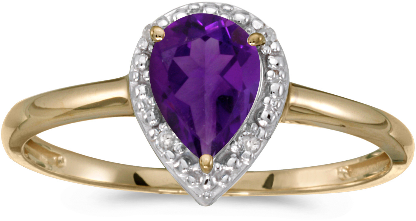 14k Yellow Gold Pear Amethyst And Diamond Ring (CM-RM2616X-02)