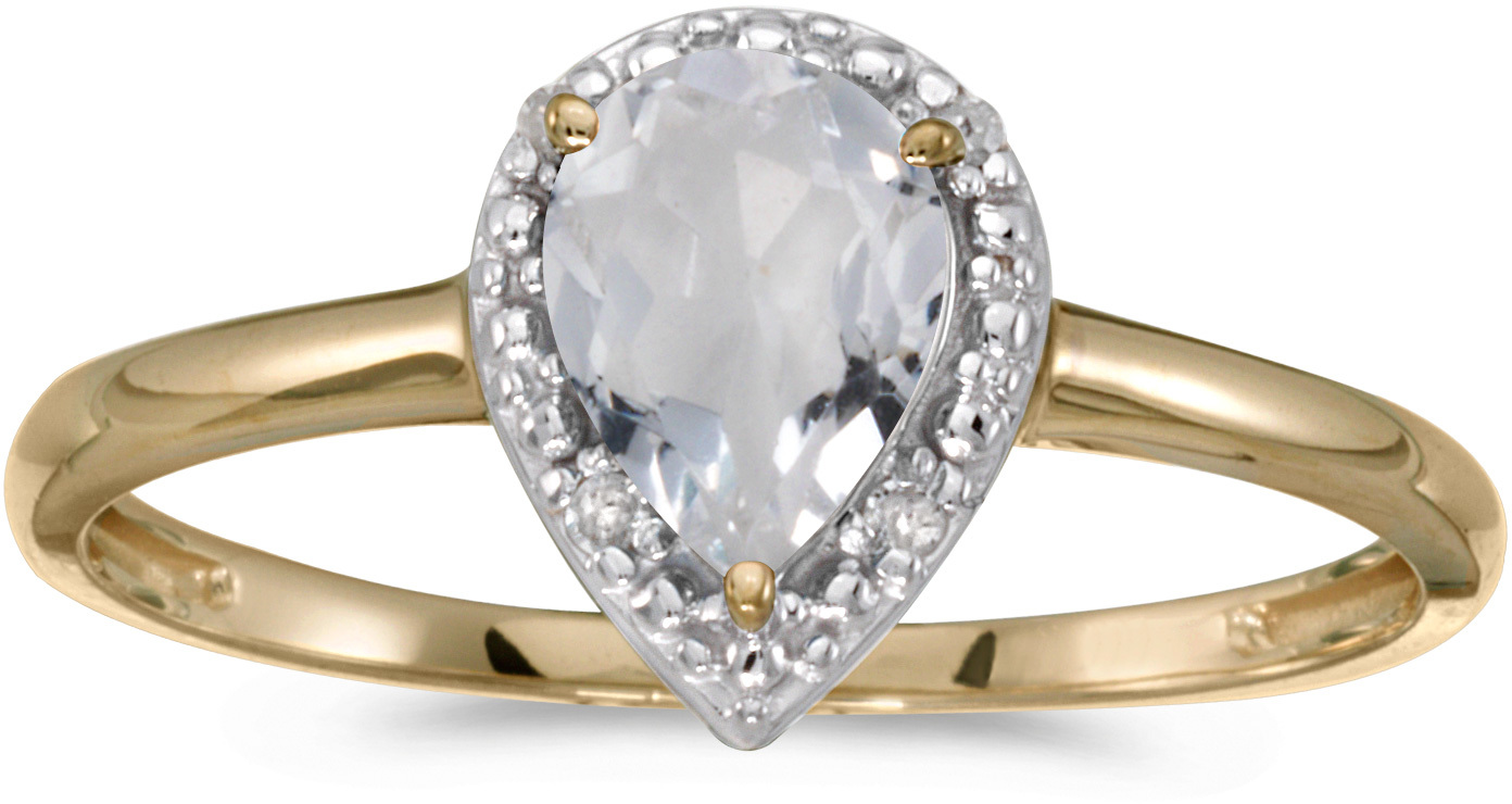 14k Yellow Gold Pear White Topaz And Diamond Ring (CM-RM2616X-04)