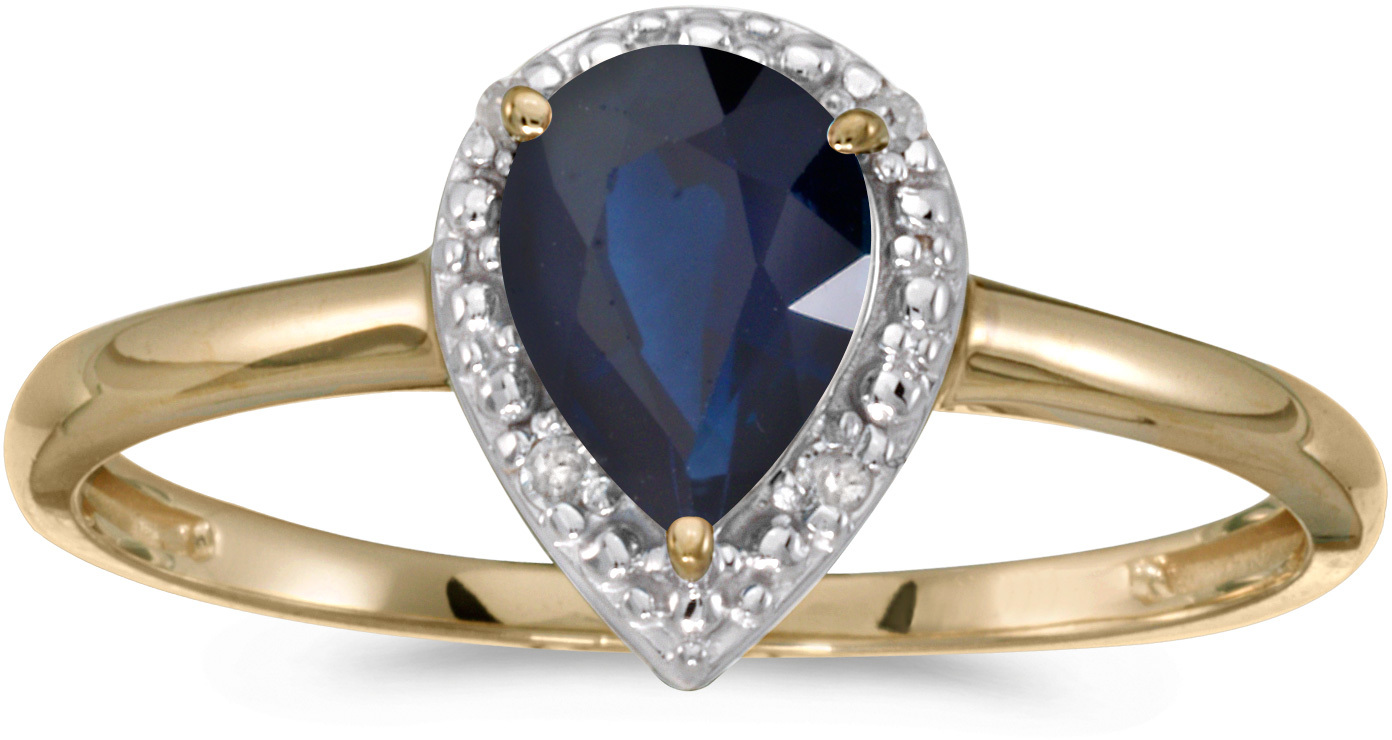 14k Yellow Gold Pear Sapphire And Diamond Ring (CM-RM2616X-09)
