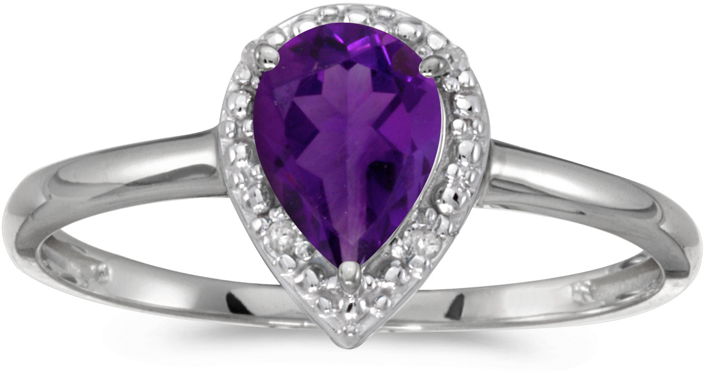 14k White Gold Pear Amethyst And Diamond Ring (CM-RM2616XW-02)