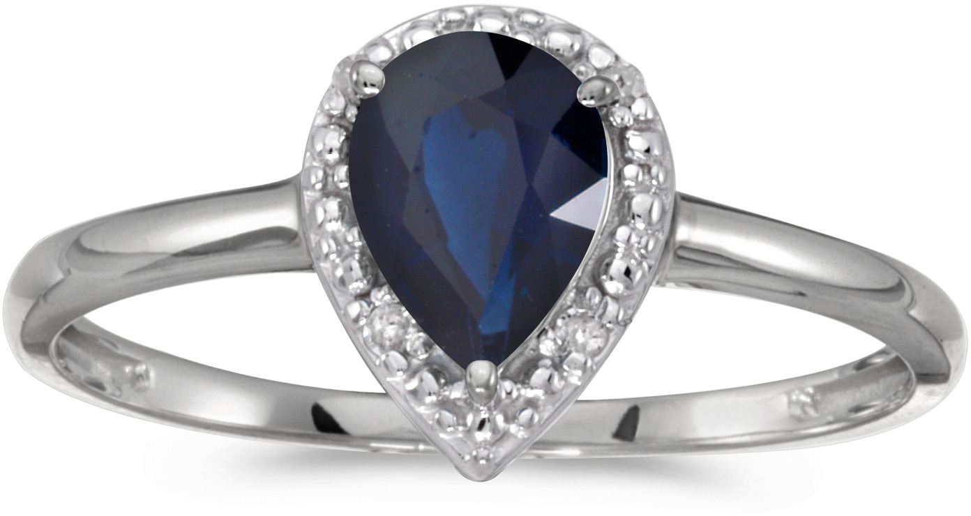 14k White Gold Pear Sapphire And Diamond Ring (CM-RM2616XW-09)