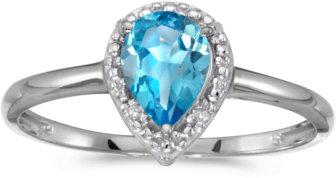 14k White Gold Pear Blue Topaz And Diamond Ring (CM-RM2616XW-12)