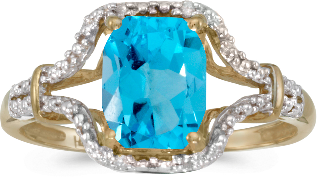 10k Yellow Gold Emerald-cut Blue Topaz And Diamond Ring (CM-RM2619-12)