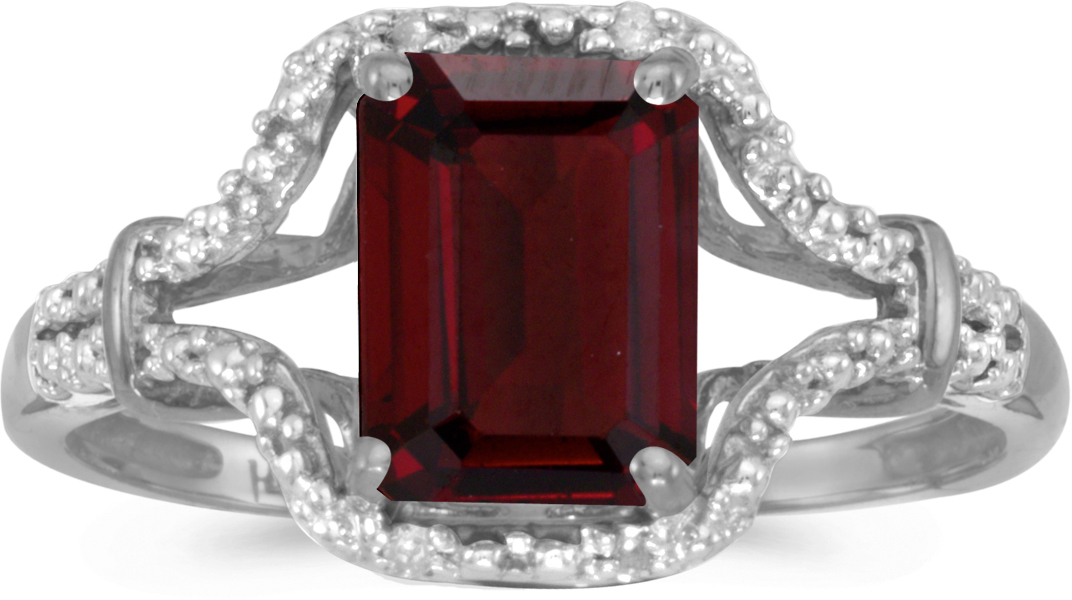 10k White Gold Emerald-cut Garnet And Diamond Ring (CM-RM2619W-01)