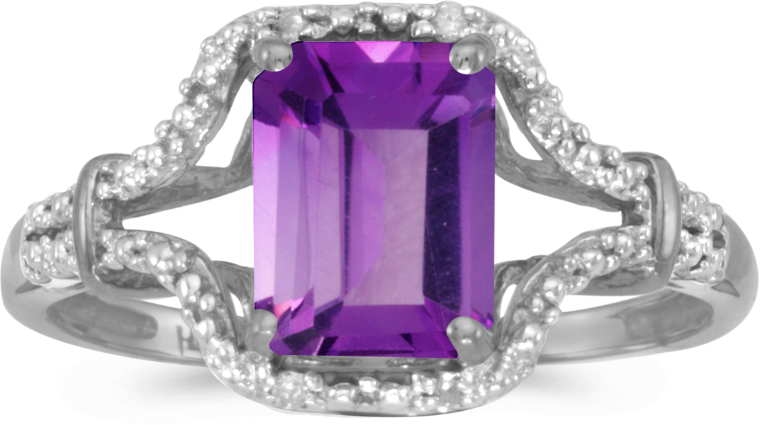 10k White Gold Emerald-cut Amethyst And Diamond Ring (CM-RM2619W-02)