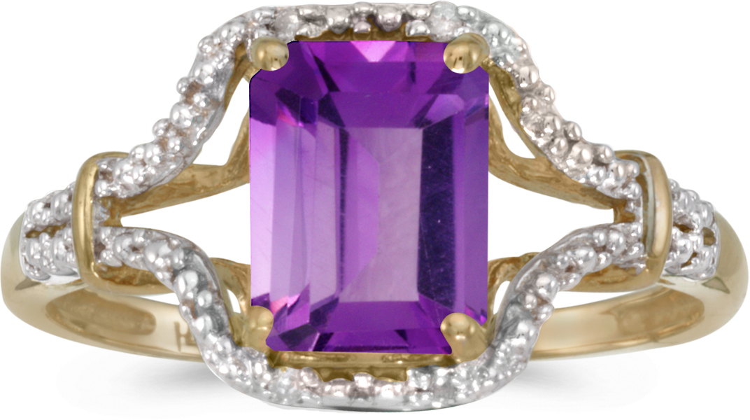 14k Yellow Gold Emerald-cut Amethyst And Diamond Ring (CM-RM2619X-02)