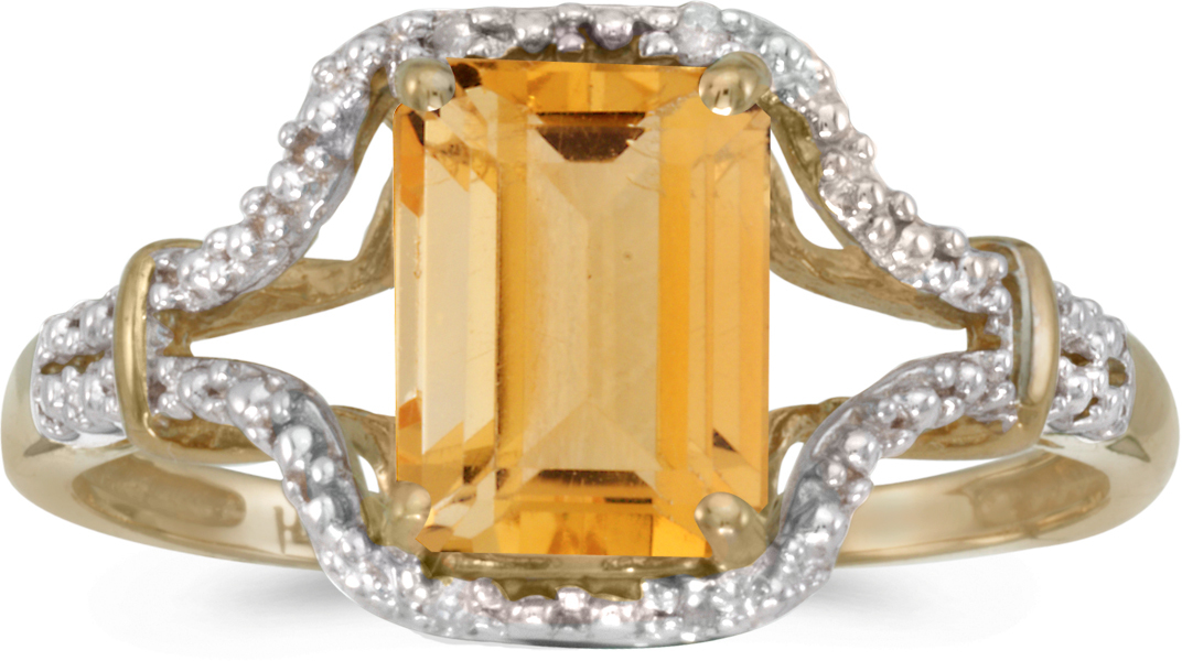 14k Yellow Gold Emerald-cut Citrine And Diamond Ring (CM-RM2619X-11)