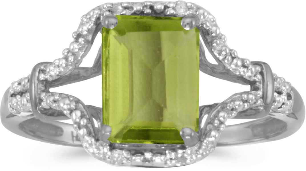 14k White Gold Emerald-cut Peridot And Diamond Ring (CM-RM2619XW-08)