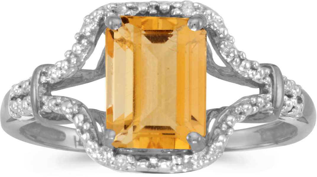 14k White Gold Emerald-cut Citrine And Diamond Ring (CM-RM2619XW-11)