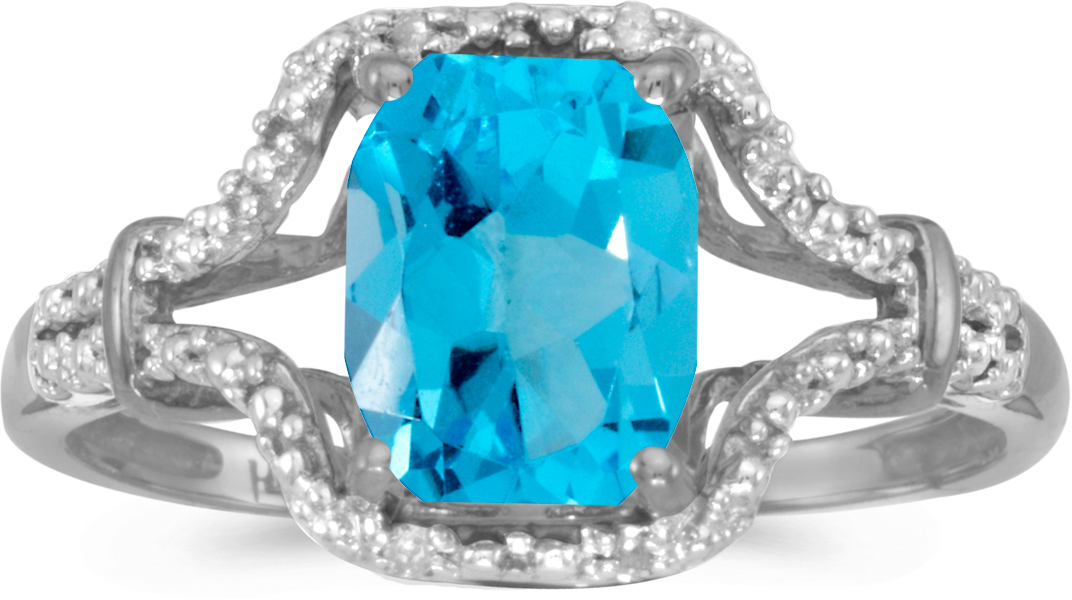 14k White Gold Emerald-cut Blue Topaz And Diamond Ring (CM-RM2619XW-12)