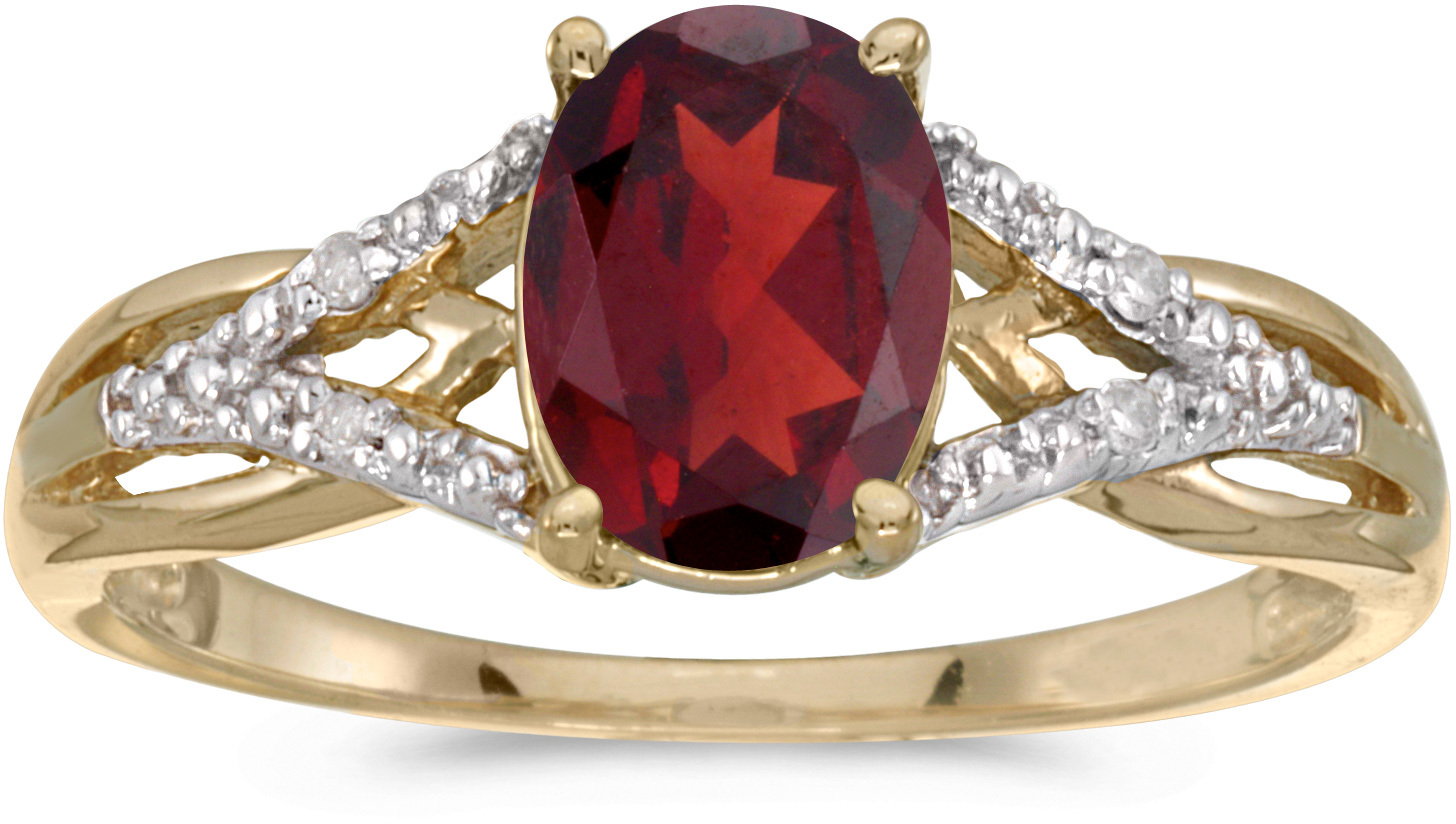 10k Yellow Gold Oval Garnet And Diamond Ring (CM-RM2620-01)